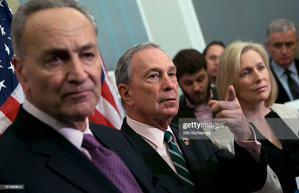 New York City Mayor <a gi-track='captionPersonalityLinkClicked' href=/galleries/search?phrase=Michael+Bloomberg&family=editorial&specificpeople=171685 ng-click='$event.stopPropagation()'>Michael Bloomberg</a> (2nd L) holds a press conference with U.S. U.S. Sen. Charles Schumer (D-NY) (L) and U.S. U.S. Sen. <a gi-track='captionPersonalityLinkClicked' href=/galleries/search?phrase=Kirsten+Gillibrand&family=editorial&specificpeople=4099377 ng-click='$event.stopPropagation()'>Kirsten Gillibrand</a> (D-NY) (2nd R) at the U.S. Capitol November 28, 2012 in Washington, DC. Bloomberg and the two senators from New York met to discuss New York City's Hurricane Sandy Federal Aid Request.