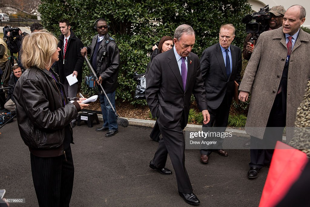 New York City Mayor <a gi-track='captionPersonalityLinkClicked' href=/galleries/search?phrase=Michael+Bloomberg&family=editorial&specificpeople=171685 ng-click='$event.stopPropagation()'>Michael Bloomberg</a> leaves after speaking to the media outside the West Wing of the White House after meeting with Vice President Joe Biden, February 27, 2013 in Washington, DC. Vice President Biden and Mayor Bloomberg discussed the Obama administration's proposals to reduce gun violence. Bloomberg was also scheduled to meet with lawmakers on Capitol Hill today.