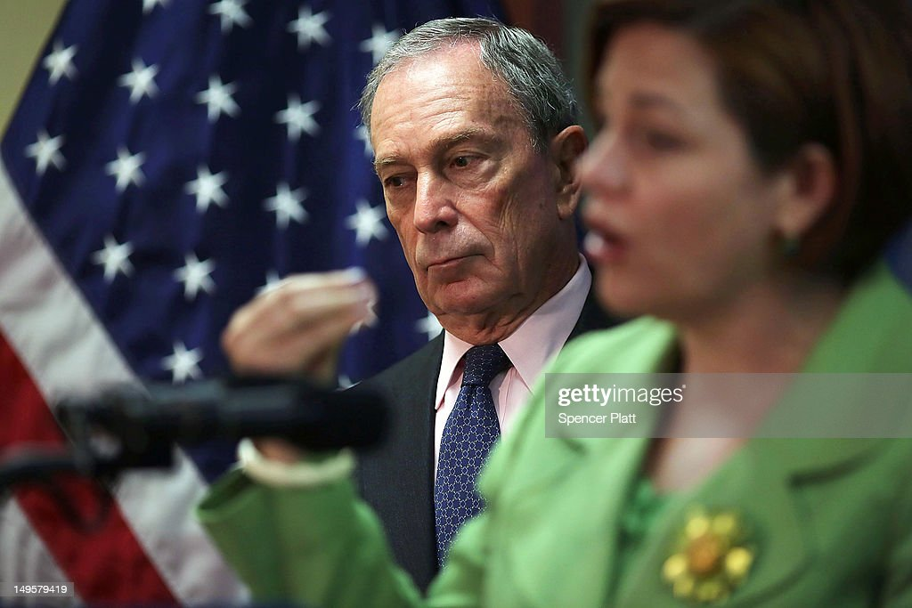 New York City Mayor <a gi-track='captionPersonalityLinkClicked' href=/galleries/search?phrase=Michael+Bloomberg&family=editorial&specificpeople=171685 ng-click='$event.stopPropagation()'>Michael Bloomberg</a> listens as City Council Speaker <a gi-track='captionPersonalityLinkClicked' href=/galleries/search?phrase=Christine+Quinn&family=editorial&specificpeople=550180 ng-click='$event.stopPropagation()'>Christine Quinn</a> speaks to the media at the opening of the Workforce1 Veterans Career center on July 31, 2012 in New York City. The center will offer area veterans assistance in their job search, help with resumes and classes on how to perfect the interview process. According to the Bureau of Labor Statistics, the unemployment rate for all veterans in June was 7.4 percent.