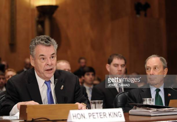 New York City Mayor Michael Bloomberg listens as Rep Peter King RNY speaks during a hearing on 'Terrorists and Guns The Nature of the Threat and...