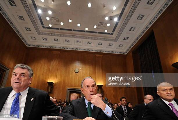 New York City Mayor Michael Bloomberg New York City Police Commissioner Raymond Kelly and Rep Peter King RNY sit for a hearing on 'Terrorists and...