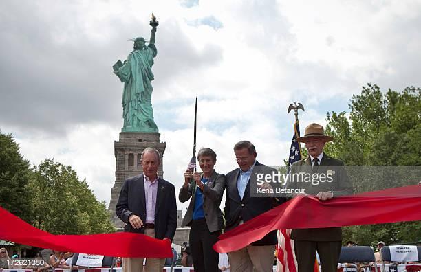 New York City Mayor Michael Bloomberg Secretary of the Interior Sally Jewell US Sen Robert Menendez and Jonathan B Jarvis Director of the United...