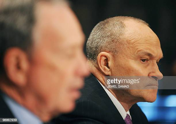 New York City Mayor Michael Bloomberg speaks as New York City Police Commissioner Raymond Kelly listens during a hearing on 'Terrorists and Guns The...
