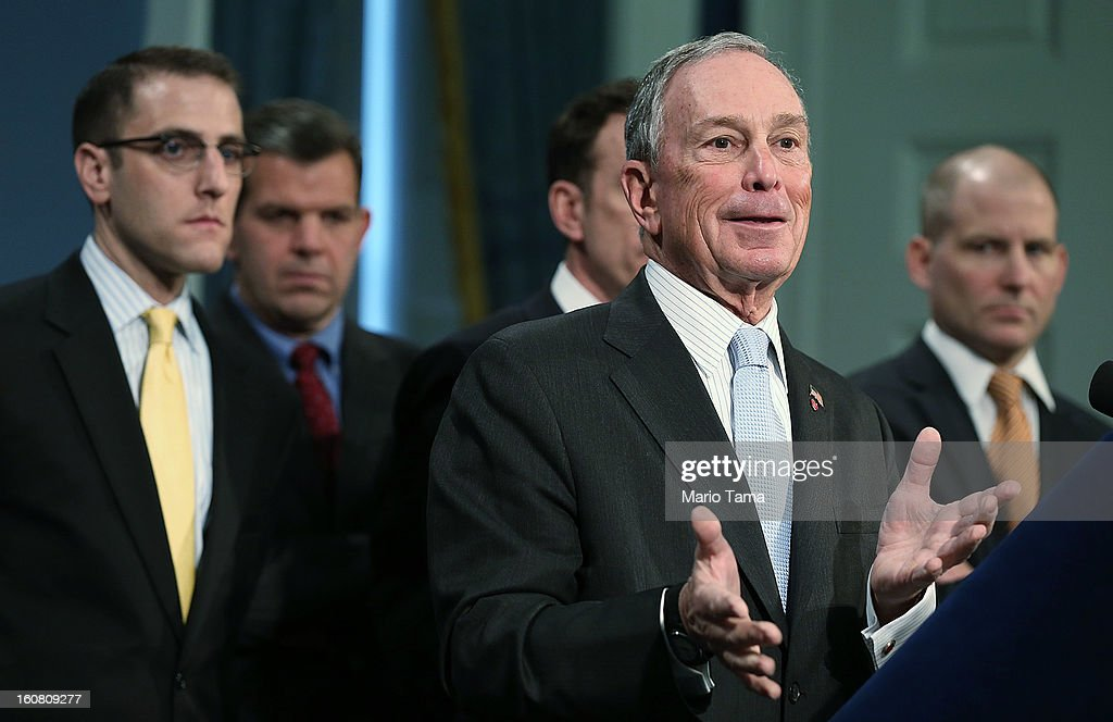 New York City Mayor <a gi-track='captionPersonalityLinkClicked' href=/galleries/search?phrase=Michael+Bloomberg&family=editorial&specificpeople=171685 ng-click='$event.stopPropagation()'>Michael Bloomberg</a> (2nd R) speaks at a City Hall press conference on federal funds for Superstorm Sandy on February 6, 2013 in New York City. Bloomberg announced plans for $1.8 billion in federal funds for community block grants which include homeowner grants to repair properties, emergency generators for public housing and a competition for new storm resilient technology.