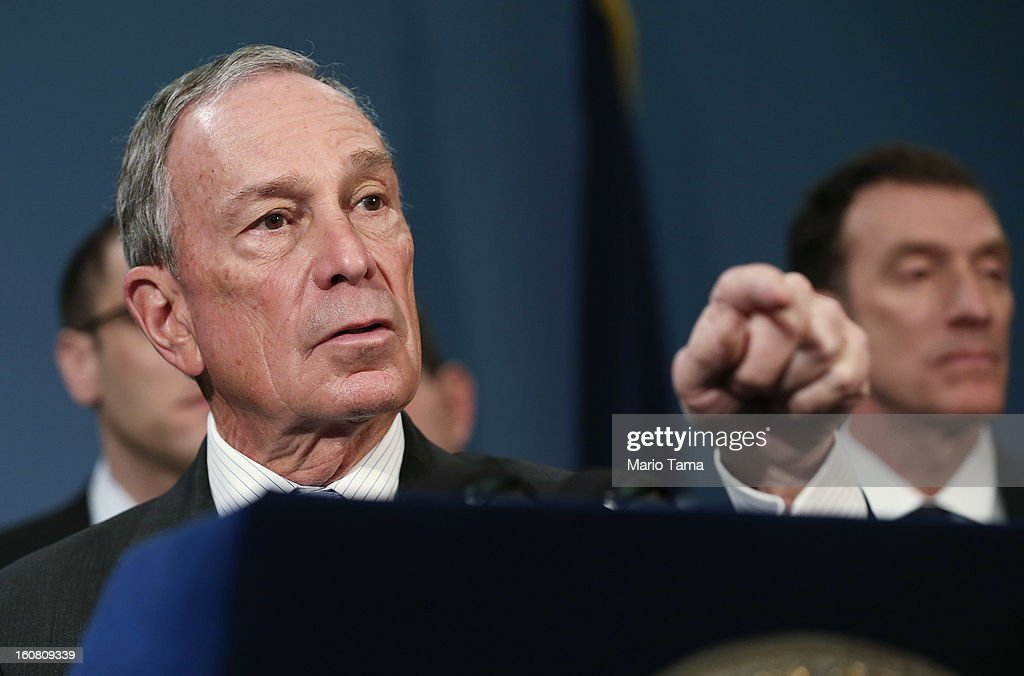 New York City Mayor <a gi-track='captionPersonalityLinkClicked' href=/galleries/search?phrase=Michael+Bloomberg&family=editorial&specificpeople=171685 ng-click='$event.stopPropagation()'>Michael Bloomberg</a> (L) speaks at a City Hall press conference on federal funds for Superstorm Sandy on February 6, 2013 in New York City. Bloomberg announced plans for $1.8 billion in federal funds for community block grants which include homeowner grants to repair properties, emergency generators for public housing and a competition for new storm resilient technology.