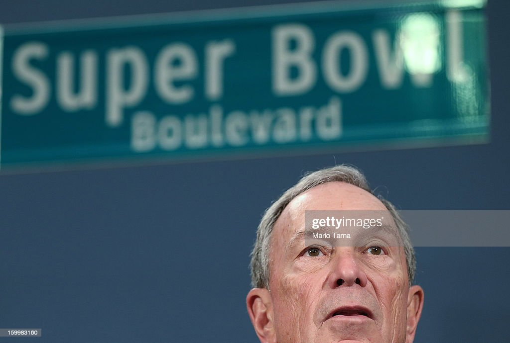 New York City Mayor Michael Bloomberg speaks at a City Hall press conference announcing plans for Super Bowl XLVIII in the region on January 24, 2012 in New York City. The New York/New Jersey region's first Super Bowl will see the creation of a 'Super Bowl Boulevard' fan attraction along Broadway in midtown Manhattan.