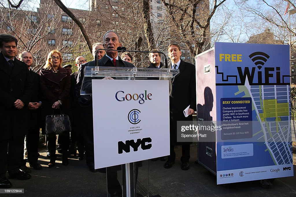 New York City Mayor <a gi-track='captionPersonalityLinkClicked' href=/galleries/search?phrase=Michael+Bloomberg&family=editorial&specificpeople=171685 ng-click='$event.stopPropagation()'>Michael Bloomberg</a> speaks at a news conference where it was announced that free Wi-Fi will be provided to the Manhattan neighborhood of Chelsea on January 8, 2013 in New York City. Google has teamed up with the Chelsea Improvement Project, a local New York City non-profit and the city government to provide free Wi-Fi to the historic neighborhood. The network will become the largest public outdoor service of its kind in New York, and the first neighborhood in the city with free WiFi.
