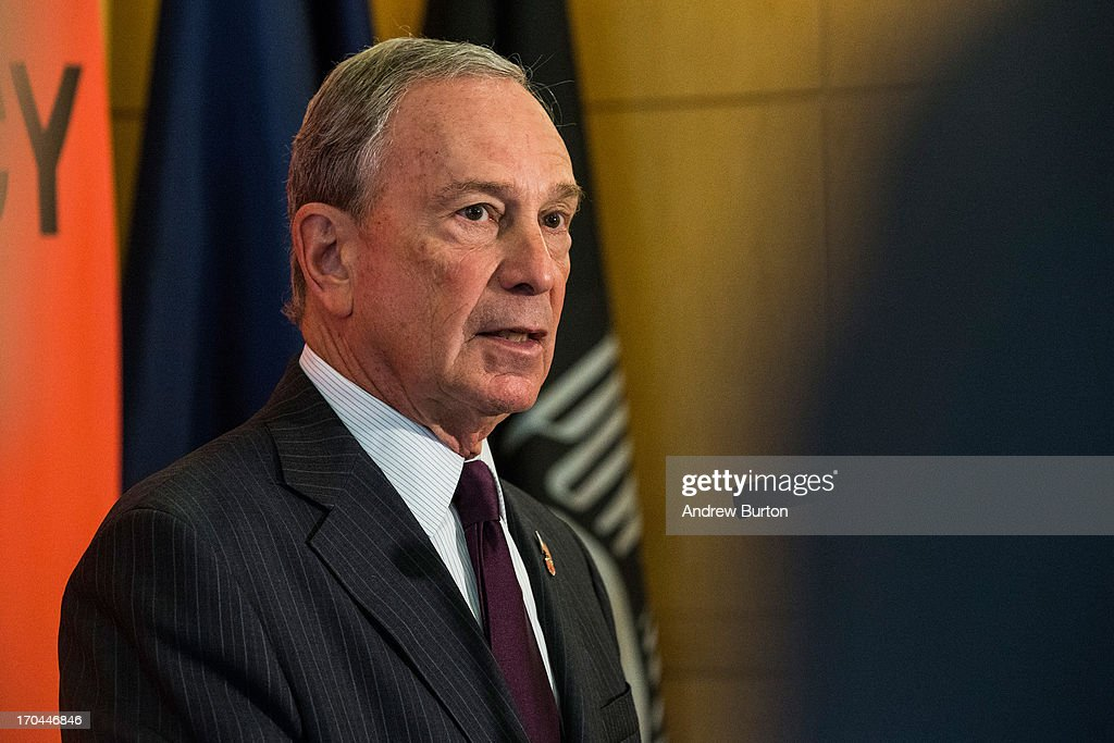 New York City Mayor Michael Bloomberg, speaks at a press conference announcing new recommendations for building codes to make the city safer against future flooding and storms on June 13, 2013 in New York City. Bloomberg spoke along side City Council Speaker and mayoral candidate, Christine Quinn. Following Hurricane Sandy, in October, 2012, Bloomberg and Quinn commissioned a task force to review building codes and recommend new standards.
