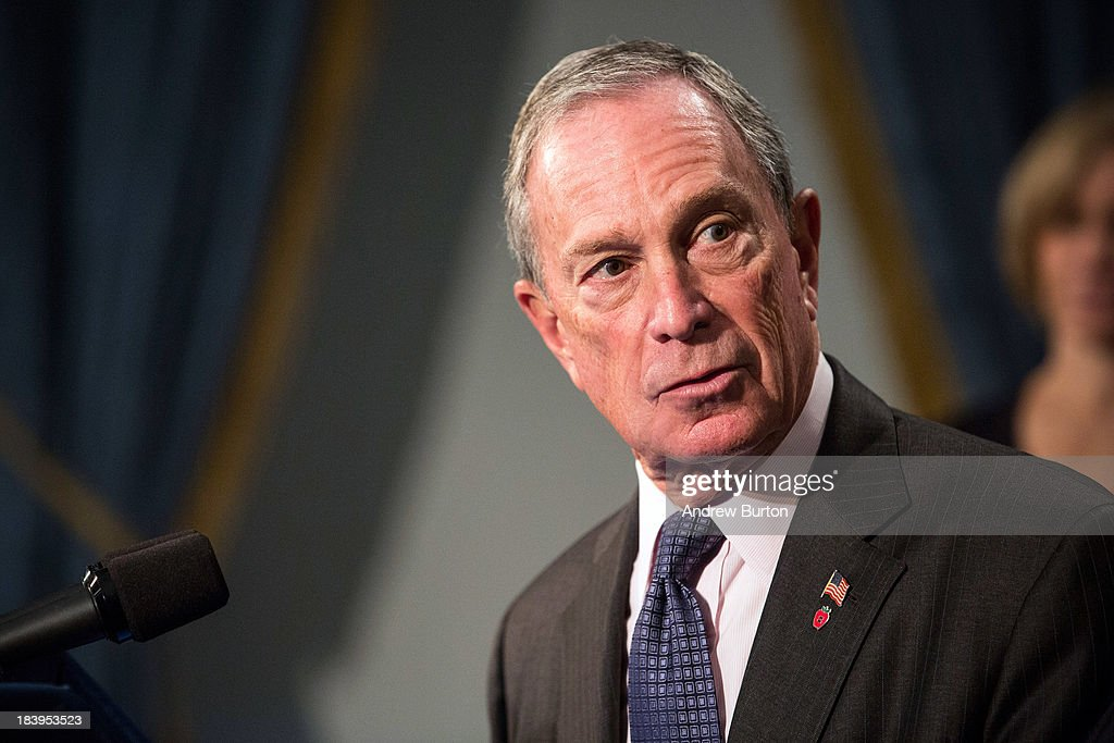 New York City Mayor <a gi-track='captionPersonalityLinkClicked' href=/galleries/search?phrase=Michael+Bloomberg&family=editorial&specificpeople=171685 ng-click='$event.stopPropagation()'>Michael Bloomberg</a> speaks at a press conference regarding Super Bowl XLVIII, which New York and New Jersey will host at MetLife Stadium on February 2, 2014 in East Rutherford, New Jersey, on October 10, 2013 in New York City. Bloomberg was joined by the National Football League's (NFL) commissioner Roger Goodell, co-chairmen of the NY/NJ Super Bowl Host Committee, and various city officials.