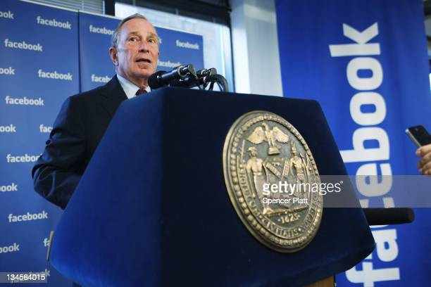 New York City Mayor Michael Bloomberg speaks at New York's Facebook headquarters on December 2 2011 in New York City Bloomberg announced that...