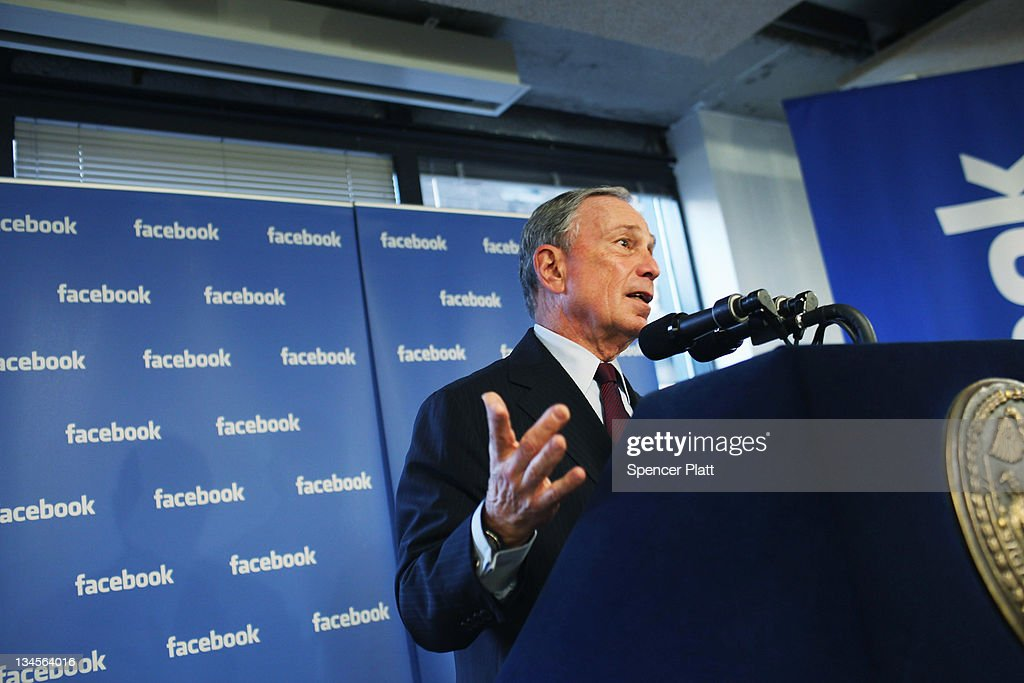 New York City Mayor <a gi-track='captionPersonalityLinkClicked' href=/galleries/search?phrase=Michael+Bloomberg&family=editorial&specificpeople=171685 ng-click='$event.stopPropagation()'>Michael Bloomberg</a> speaks at New York's Facebook headquarters on December 2, 2011 in New York City. Bloomberg announced that Facebook will be opening a center for engineers in New York City in 2012. Facebook, the world's largest social networking company, is expected to file for an IPO in April, and a public offering could reach a valuation of up to $100 billion and raise $10 billion.