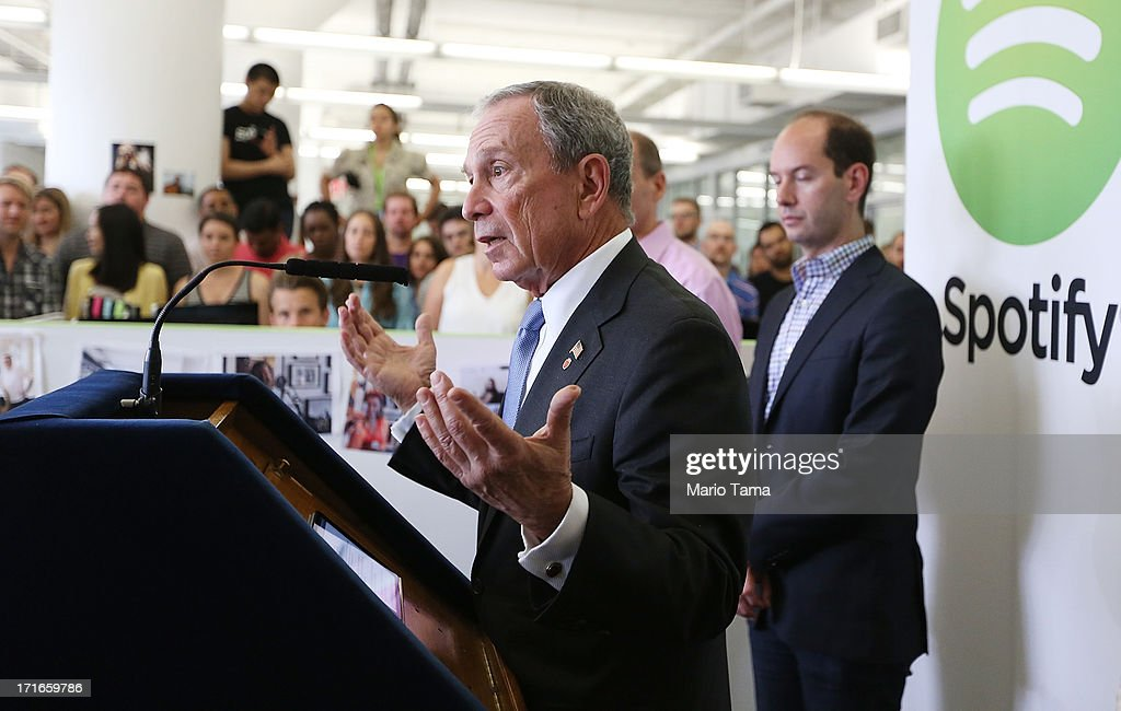 New York City Mayor Michael Bloomberg (L) speaks at Spotify offices during a press conference on June 27, 2013 in New York City. Spotify will add 130 tech and engineering jobs in New York and expand to a new office in the Chelsea neighborhood of Manhattan.