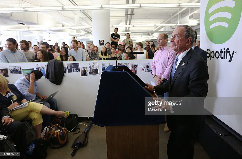 New York City Mayor Michael Bloomberg (R) speaks at Spotify offices during a press conference on June 27, 2013 in New York City. Spotify will add 130 tech and engineering jobs in New York and expand to a new office in the Chelsea neighborhood of Manhattan.