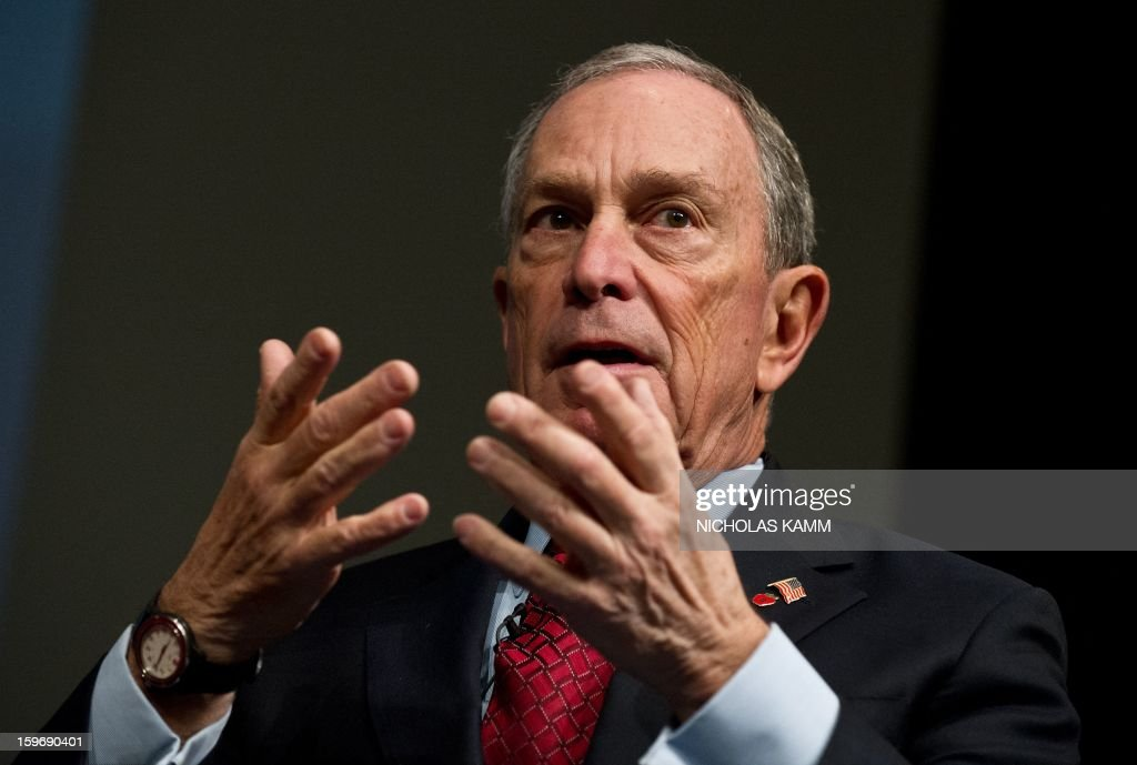 New York City mayor Michael Bloomberg speaks at the annual Transforming Transportation conference at the World Bank in Washington,DC on January 18, 2013. AFP PHOTO/Nicholas KAMM