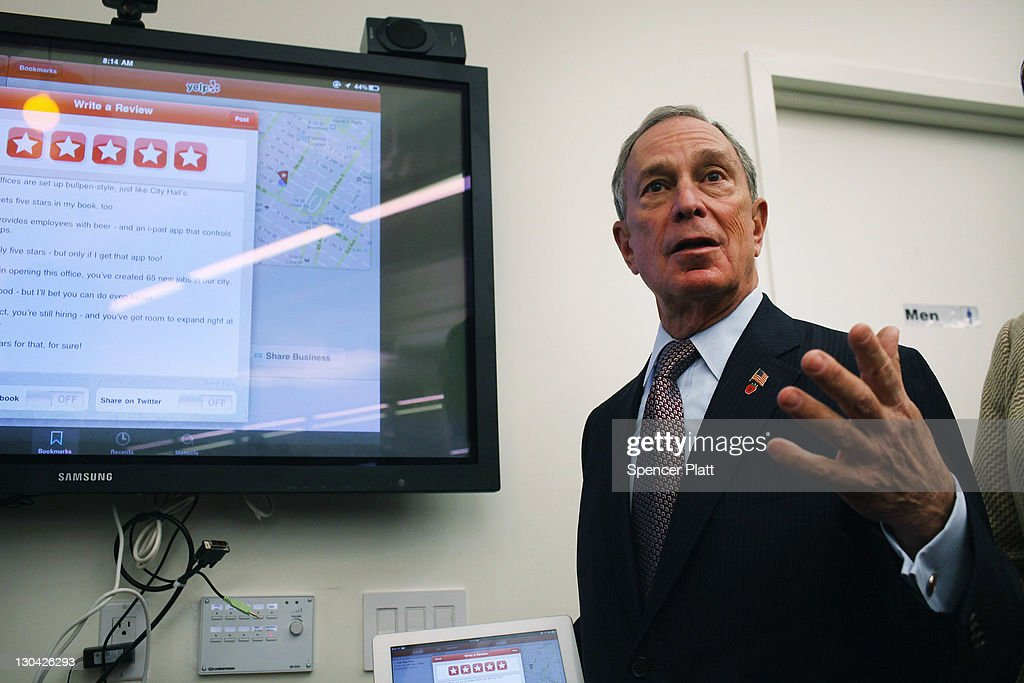 New York City Mayor <a gi-track='captionPersonalityLinkClicked' href=/galleries/search?phrase=Michael+Bloomberg&family=editorial&specificpeople=171685 ng-click='$event.stopPropagation()'>Michael Bloomberg</a> speaks at the new East Coast headquarters of the online review company Yelp on October 26, 2011 in New York City. The Bloomberg administration has been heralding and working to facilitate the tech sector in New York City in hopes of making New York City a rival to Silicon Valley for start-up companies.
