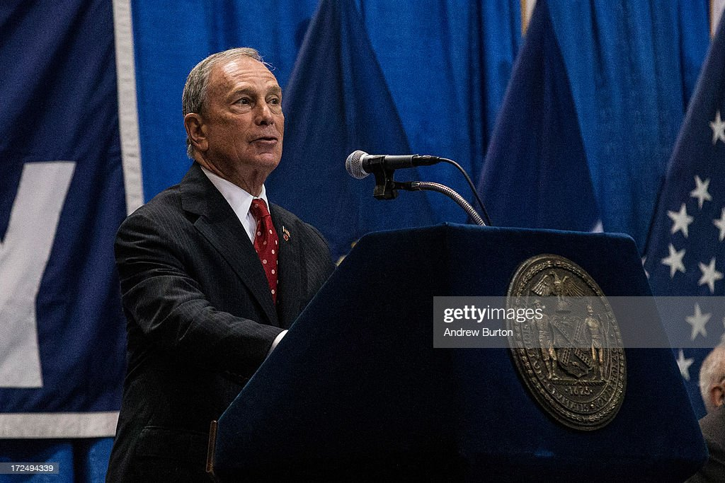 New York City mayor <a gi-track='captionPersonalityLinkClicked' href=/galleries/search?phrase=Michael+Bloomberg&family=editorial&specificpeople=171685 ng-click='$event.stopPropagation()'>Michael Bloomberg</a> speaks at the New York City Police Academy cadet graduation ceremony at the Barclays Center on July 2, 2013 in the Brooklyn borough of New York City. The New York Police Department (NYPD) has more than 37,000 officers; 781 cadets graduated today.