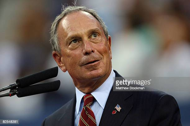 New York City Mayor Michael Bloomberg speaks at the opening ceremonies during Day 1 of the 2008 US Open at the USTA Billie Jean King National Tennis...