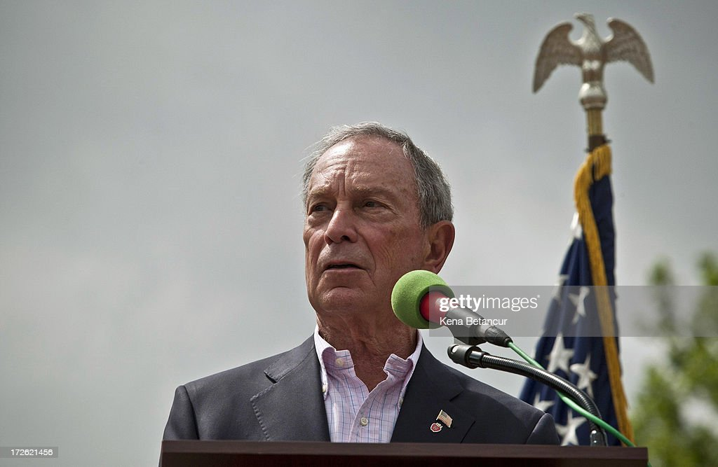 New York City Mayor <a gi-track='captionPersonalityLinkClicked' href=/galleries/search?phrase=Michael+Bloomberg&family=editorial&specificpeople=171685 ng-click='$event.stopPropagation()'>Michael Bloomberg</a> speaks at the reopening ceremony of the Statue of Liberty on the first day it is open to the public after Hurricane Sandy on July 4, 2013 on the Liberty Island in New York City. The statue was mostly spared by the storm, but the surrounding infrastructure was badly damaged.