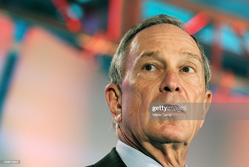 New York City Mayor <a gi-track='captionPersonalityLinkClicked' href=/galleries/search?phrase=Michael+Bloomberg&family=editorial&specificpeople=171685 ng-click='$event.stopPropagation()'>Michael Bloomberg</a> speaks at the TechCrunch Disrupt Conference at St. John�s Center Studio May 25, 2010 in New York City. The conference gathers innovators who are attemtping to disrupt media and technology in internet enabled industries.