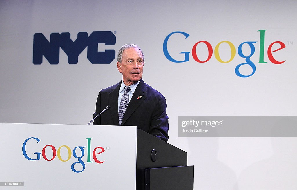 New York City Mayor <a gi-track='captionPersonalityLinkClicked' href=/galleries/search?phrase=Michael+Bloomberg&family=editorial&specificpeople=171685 ng-click='$event.stopPropagation()'>Michael Bloomberg</a> speaks during a news conference at the Google offices on May 21, 2012 in New York City. Google announced today that it will allocate 22,000 square feet of space in its New York headquarters to CornellNYC Tech while the university completes its new campus on Roosevelt Island.