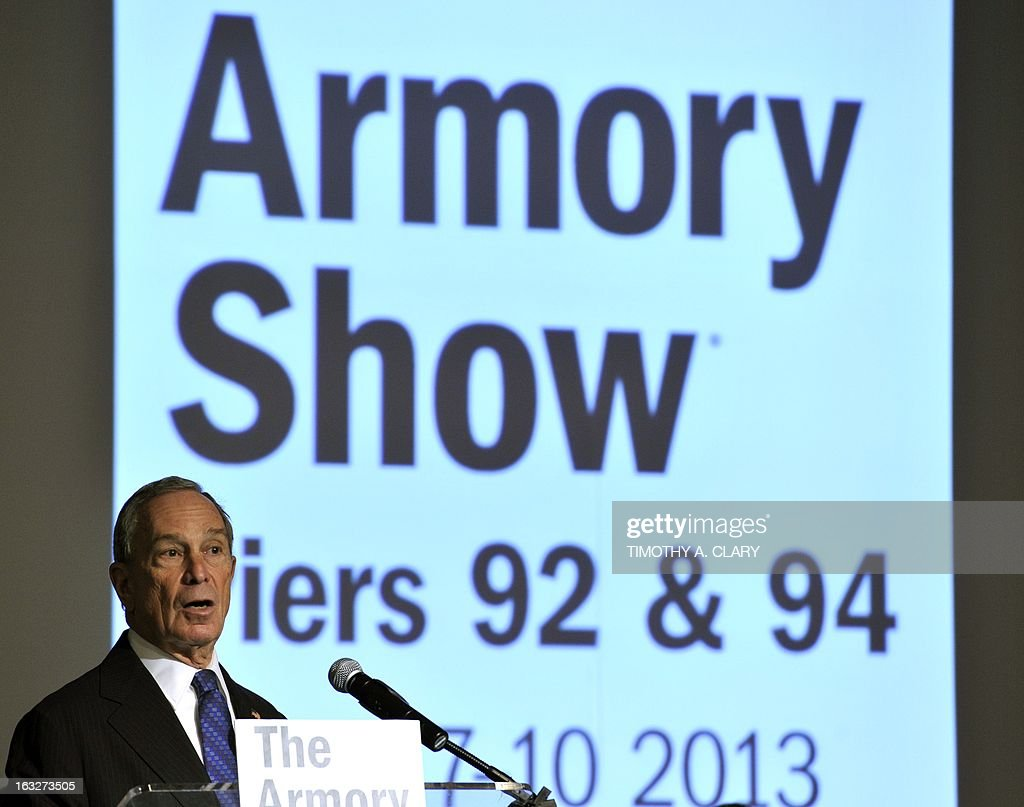 New York City Mayor Michael Bloomberg speaks during the press preview at the 2013 Armory Show, one of the world's top art events featuring the most influential artworks of the 20th and 21st centuries, at Pier 92 and 94 in New York March 6, 2013. The Armory Show Centennial Edition kicks off Armory Arts Week . AFP PHOTO / TIMOTHY A. CLARY