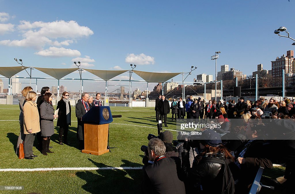 New York City Mayor <a gi-track='captionPersonalityLinkClicked' href=/galleries/search?phrase=Michael+Bloomberg&family=editorial&specificpeople=171685 ng-click='$event.stopPropagation()'>Michael Bloomberg</a> speaks to the media during a ribbon-cutting ceremony to open a new soccer field on Brooklyn's Pier 5 on December 13, 2012 in New York City.