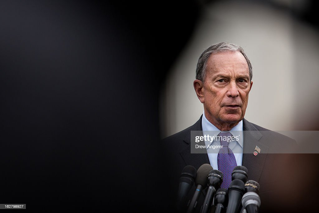 New York City Mayor <a gi-track='captionPersonalityLinkClicked' href=/galleries/search?phrase=Michael+Bloomberg&family=editorial&specificpeople=171685 ng-click='$event.stopPropagation()'>Michael Bloomberg</a> speaks to the media outside the West Wing of the White House after meeting with Vice President Joe Biden, February 27, 2013 in Washington, DC. Vice President Biden and Mayor Bloomberg discussed the Obama administration's proposals to reduce gun violence. Bloomberg was also scheduled to meet with lawmakers on Capitol Hill today.