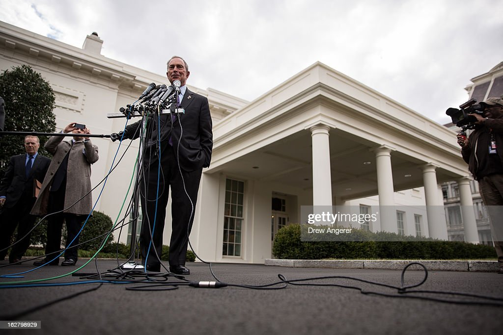 New York City Mayor <a gi-track='captionPersonalityLinkClicked' href=/galleries/search?phrase=Michael+Bloomberg&family=editorial&specificpeople=171685 ng-click='$event.stopPropagation()'>Michael Bloomberg</a> speaks to the media outside the West Wing of the White House after meeting with Vice President Joe Biden, February 27, 2013 in Washington, DC. Vice President Biden and Mayor Bloomberg discussed the Obama administration's proposals to reduce gun violence. Bloomberg was also scheduled to meet with lawmakers on Capitol Hill on Wednsday.