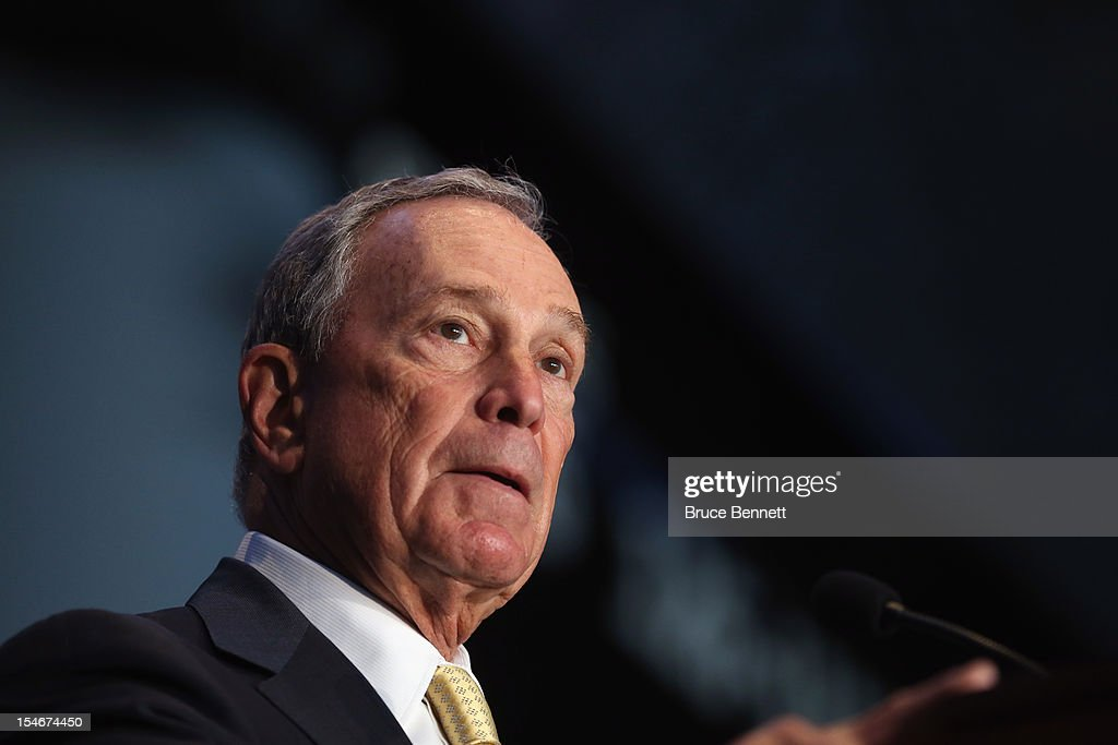 New York City Mayor <a gi-track='captionPersonalityLinkClicked' href=/galleries/search?phrase=Michael+Bloomberg&family=editorial&specificpeople=171685 ng-click='$event.stopPropagation()'>Michael Bloomberg</a> speaks with the media at a press conference announcing the New York Islanders' move to Brooklyn in 2015 at the Barclays Center on October 24, 2012 in the Brooklyn borough of New York City.