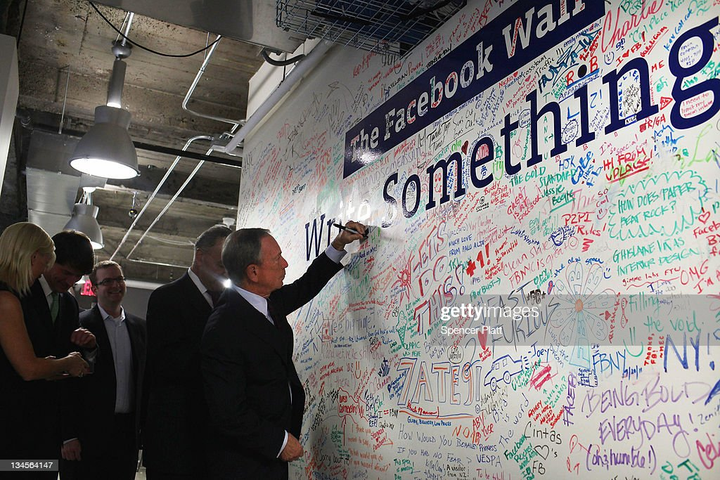 New York City Mayor <a gi-track='captionPersonalityLinkClicked' href=/galleries/search?phrase=Michael+Bloomberg&family=editorial&specificpeople=171685 ng-click='$event.stopPropagation()'>Michael Bloomberg</a> (R) tours New York's Facebook headquarters on December 2, 2011 in New York City. Bloomberg and Schumer announced that Facebook will be opening a center for engineers in New York City in 2012. Facebook, the world's largest social networking company, is expected to file for an IPO in April, and a public offering could reach a valuation of up to $100 billion and raise $10 billion.