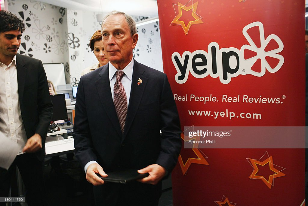 New York City Mayor <a gi-track='captionPersonalityLinkClicked' href=/galleries/search?phrase=Michael+Bloomberg&family=editorial&specificpeople=171685 ng-click='$event.stopPropagation()'>Michael Bloomberg</a> visits the new East Coast headquarters of the online review company Yelp on October 26, 2011 in New York City. The Bloomberg administration has been heralding and working to facilitate the tech sector in New York City in hopes of making New York City a rival to Silicon Valley for start-up companies.