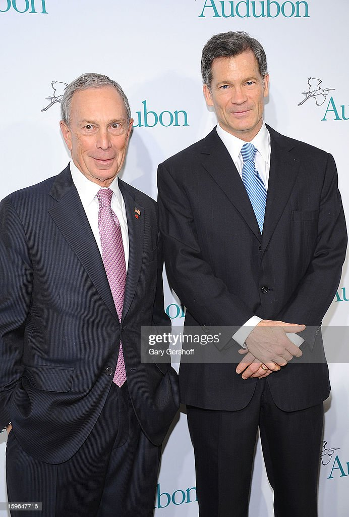 New York City mayor Michael R. Bloomberg (L) and event honoree Louis Bacon attend the 2013 National Audubon Society Gala Dinner at The Plaza Hotel on January 17, 2013 in New York City.