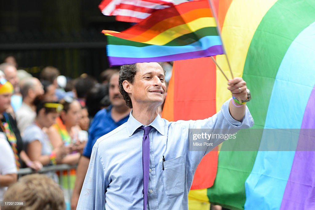 New York City Mayoral Candidate <a gi-track='captionPersonalityLinkClicked' href=/galleries/search?phrase=Anthony+Weiner&family=editorial&specificpeople=821661 ng-click='$event.stopPropagation()'>Anthony Weiner</a> attends The March during NYC Pride 2013 on June 30, 2013 in New York City.