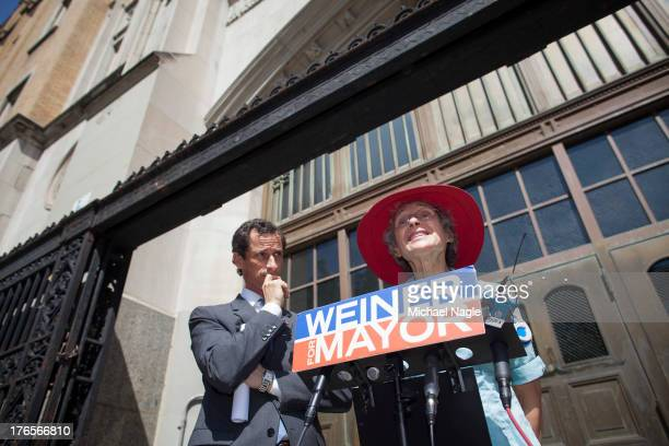 New York City mayoral candidate Anthony Weiner holds a press conference in front of his alma mater Brooklyn Technical High School with his mother...