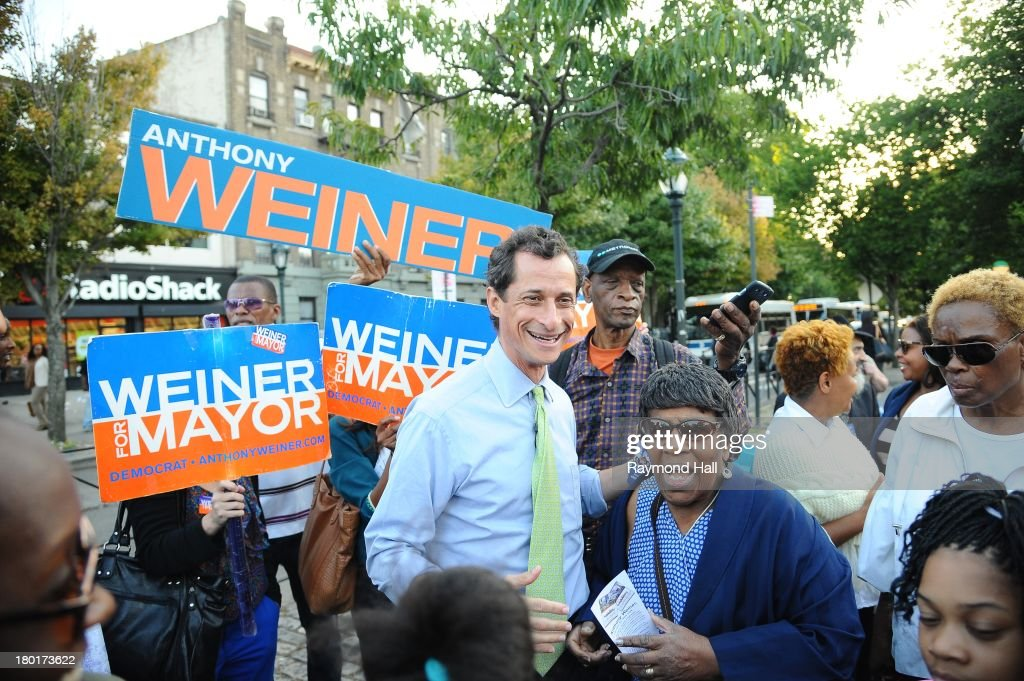 New York City mayoral candidate <a gi-track='captionPersonalityLinkClicked' href=/galleries/search?phrase=Anthony+Weiner&family=editorial&specificpeople=821661 ng-click='$event.stopPropagation()'>Anthony Weiner</a> is seen in the Crown Heights neighborhood of Brooklyn on September 9, 2013 in New York City.