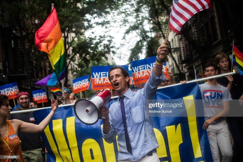 New York City mayoral candidate <a gi-track='captionPersonalityLinkClicked' href=/galleries/search?phrase=Anthony+Weiner&family=editorial&specificpeople=821661 ng-click='$event.stopPropagation()'>Anthony Weiner</a> marches in the New York Gay Pride Parade on June 30, 2013 in New York City. This year's parade was a particularly festive occasion, due to the recent Supreme Court Ruling that it was unconstitutional to ban gay marriage.