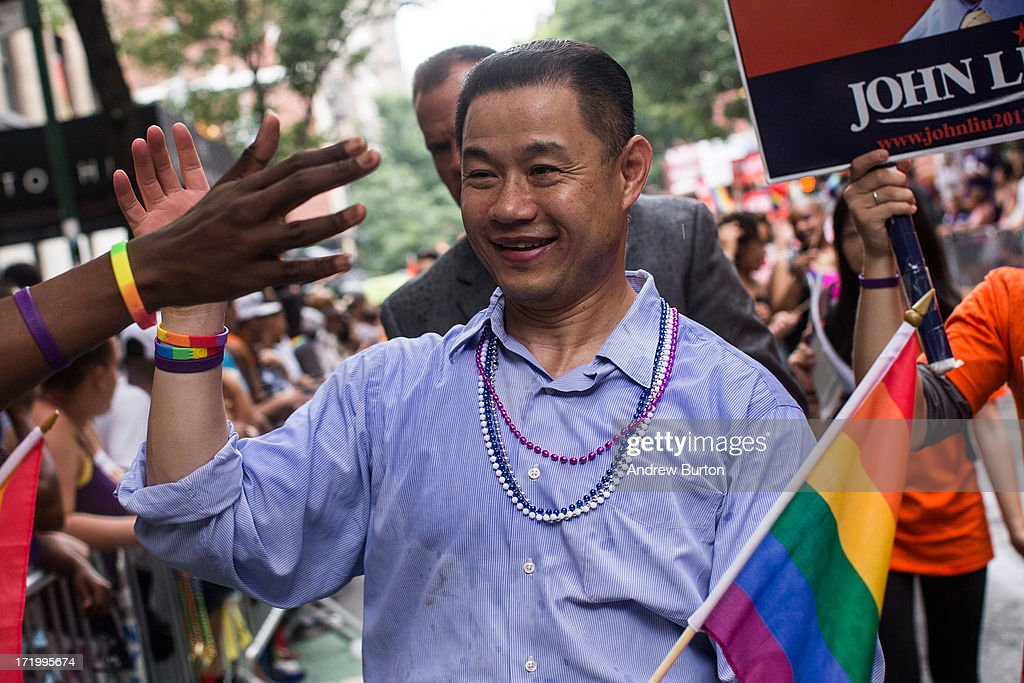New York City mayoral candidate John Liu marches in the New York Gay Pride Parade on June 30, 2013 in New York City. This year's parade was a particularly festive occasion, due to the recent Supreme Court Ruling that it was unconstitutional to ban gay marriage.