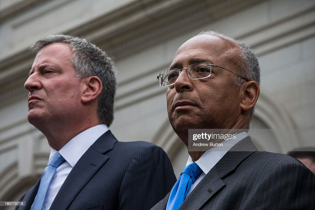 New York City mayoral hopeful Bill Thompson (R), and New York City Democratic mayoral candidate Bill De Blasio (L) attend a speech in which Thompson conceded defeat to de Blasio in the race for the democratic candidate position in the race for New York City mayor on September 16, 2013 in New York City. Thompson and De Blasio both hoped to win the democratic cadidate position for New York City. While De Blasio had a majority lead in the primary vote with approximately 40% of the votes, Thompson had hoped that he could force a run off between the two.