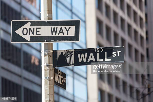 New York city navigation Wall street signboard with Water street and one way signboards fixed on a pole at a traffic intersection in New York city...