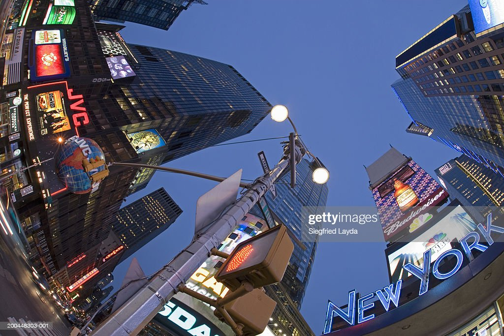 USA, New York City, neon-lit buildings and road sign (fisheye lens) : Stock Photo