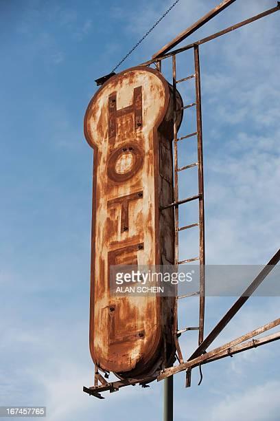 USA, New York City, New York City, Rusty hotel sign