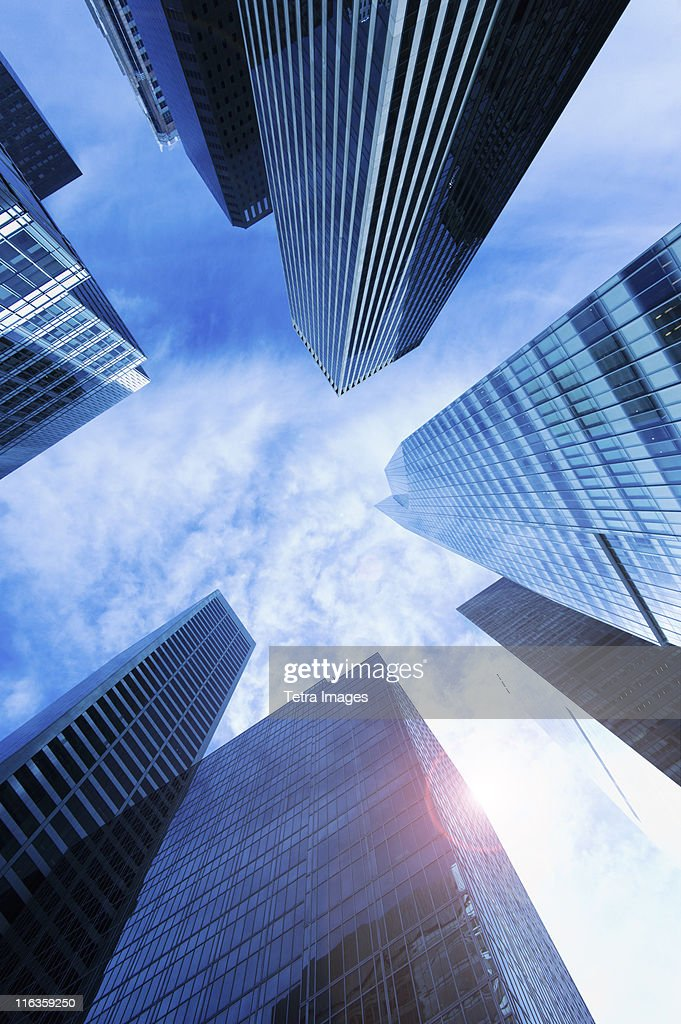 USA, New York City, New York, upward view of modern office buildings : Stock Photo