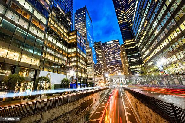 New York City Park Avenue at dusk