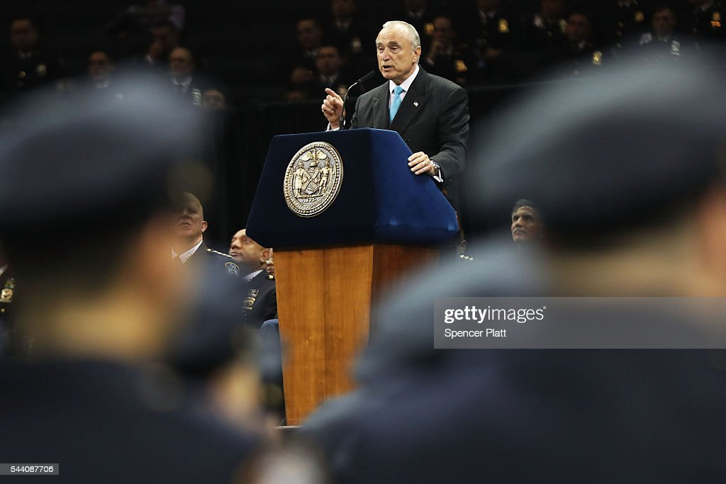New York City Police Commissioner Bill Bratton speaks to new members of New York City's police department's graduating class during a swearing in ceremony at Madison Square Garden on July 1, 2016 in New York City. The New York City Police Department's (NYPD) current uniformed strength is approximately 34,500.