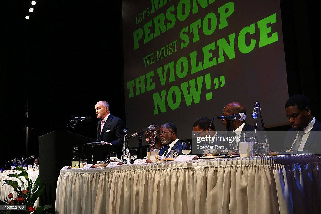 New York City Police Commissioner <a gi-track='captionPersonalityLinkClicked' href=/galleries/search?phrase=Raymond+Kelly&family=editorial&specificpeople=551131 ng-click='$event.stopPropagation()'>Raymond Kelly</a> speaks to an audience at the Business Expo and Employment Fair at columbia University which is part of Harlem Week on August 9, 2012 in New York City. Kelly addressed the police departments stop -and- frisk policy which has drawn criticism from many area black leaders and community members as they tactic has overwhelmingly targeted members of the latino and African Americans communities.