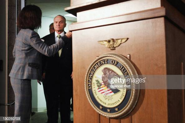 New York City Police Commissioner Raymond Kelly walks into a news conference to announce the arrest Tuesday of five New York Police Department...