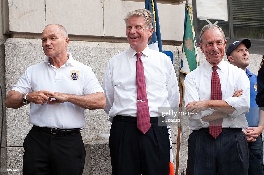 New York City Police Commissioner Raymond W. Kelly, Manhattan District Attorney Cyrus R. Vance, Jr., and New York City mayor Michael R. Bloomberg attend National Night Out on the streets of Manhattan on August 7, 2012 in New York City.