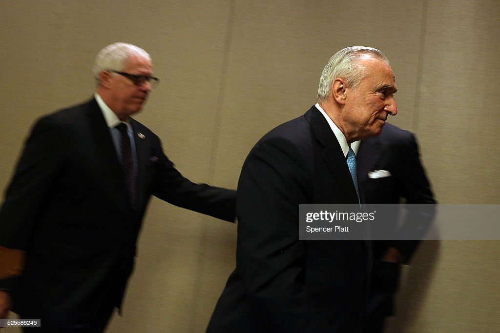 New York City Police Commissioner <a gi-track='captionPersonalityLinkClicked' href=/galleries/search?phrase=William+Bratton&family=editorial&specificpeople=696107 ng-click='$event.stopPropagation()'>William Bratton</a> leaves a news conference attended by Jeh Johnson, the United States Secretary of Homeland Security, at a Manhattan hotel hosting a counter-terrorism conference on April 28, 2016 in New York City. The Leadership in Counter Terrorism conference (LinCT) is a yearly gathering that draws law enforcement and security officials from around the world to discuss efforts in combating terrorism.