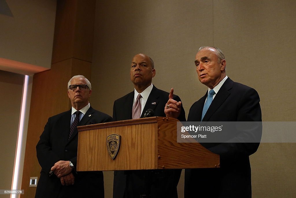 New York City Police Commissioner William Bratton (R) speaks as Jeh Johnson (C), the United States Secretary of Homeland Security, looks on at a news conference in a hotel in Manhattan that is hosting a counter-terrorism conference on April 28, 2016 in New York, New York. The Leadership in Counter Terrorism conference (LinCT) is a yearly gathering that draws law enforcement and security officials from around the world to discuss strategies efforts in combatting terrorism.