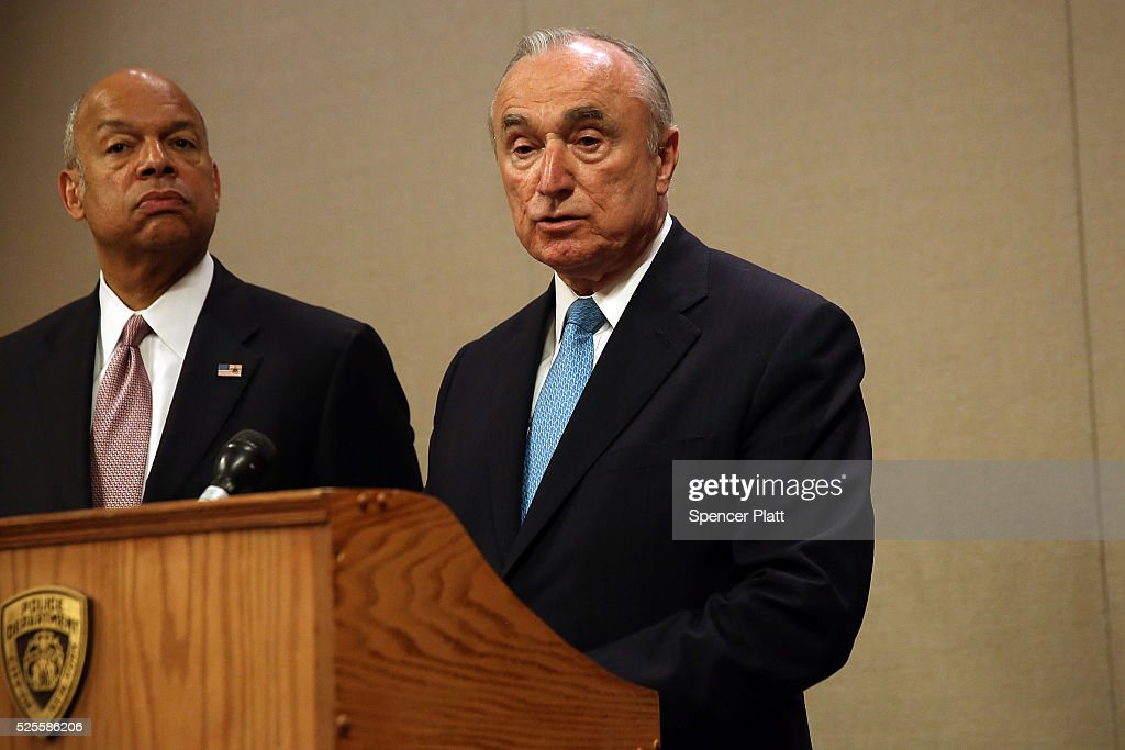 New York City Police Commissioner <a gi-track='captionPersonalityLinkClicked' href=/galleries/search?phrase=William+Bratton&family=editorial&specificpeople=696107 ng-click='$event.stopPropagation()'>William Bratton</a> speaks at a news conference as <a gi-track='captionPersonalityLinkClicked' href=/galleries/search?phrase=Jeh+Johnson&family=editorial&specificpeople=5862084 ng-click='$event.stopPropagation()'>Jeh Johnson</a>, the United States Secretary of Homeland Security, looks on at a Manhattan hotel hosting a counter-terrorism conference on April 28, 2016 in New York City. The Leadership in Counter Terrorism conference (LinCT) is a yearly gathering that draws law enforcement and security officials from around the world to discuss efforts in combating terrorism.